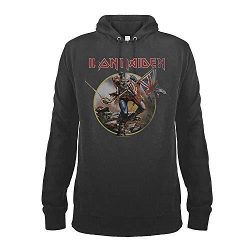 Amplified - Sudadera con Capucha para Hombre, diseño de Iron Maiden, Color Gris, Tallas S-XL Gris L