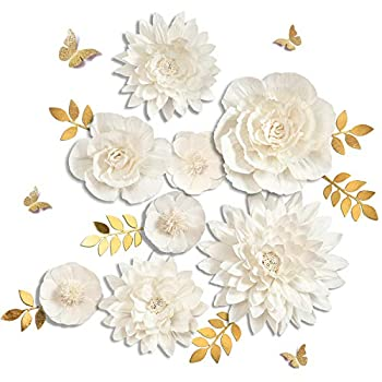 Letjolt White Paper Flowers Handcrafted Dahlia Birthday Party Easter Day Decorations Spring Party Decor Wedding Backdrop Wall Flowers Baby Shower Bridal Shower  White 8Pcs