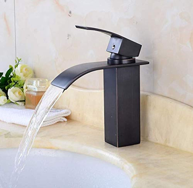 Verchromtes Messinghahn-Becken-europische schwarze alte Wasserfall-Wasserhahn-Badezimmer-Becken-heier und kalter Wasserhahn