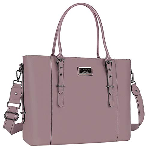 MOSISO PU Leather Laptop Tote Bag for Women (15-16 inch), Purple
