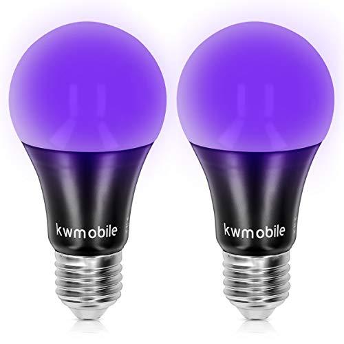 kwmobile 2x LED E27 Schwarzlicht Glühbirne - 7 Watt - UV Leuchtmittel Set mit E 27 Fassung - 385-400nm Wellenlänge - für Partykeller Partyraum Club