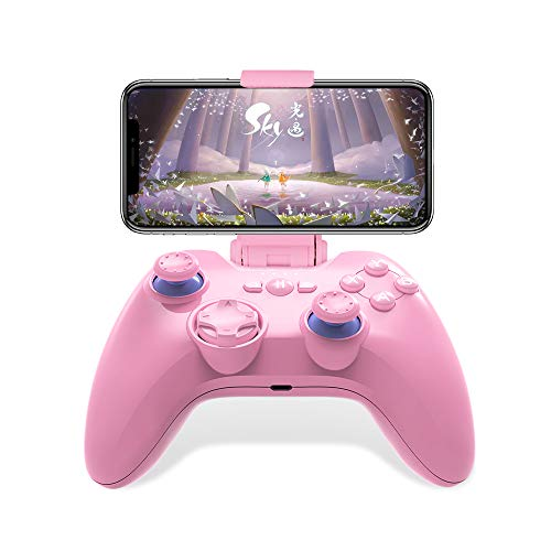 MFI Wireless Game Controller for iPhone/iPad/Apple TV, PXN Speedy(6603) iOS Mobile Gaming Controller Gamepad with phone holder & L3+R3 Trigger (Pink)