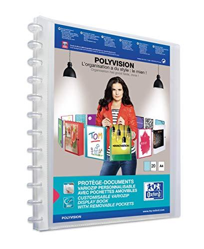 Elba Polyvision Variozip Protège-Documents Personnalisable à Pochettes Amovibles Porte Vue 40 Vues Polypropylène Translucide A4 Couleur Aléatoire