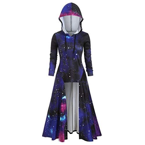 Kapuzenpullover Lang Outwear Mode Frauen Kapuzenshirt Große Größen Hoodie Damen Pullover Langarm Pulli Tie-dye Star Galaxy Druck Oberteile Tops, Marine, XX-Large