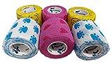 PintoMed Venda Cohesiva 2 Patas + 2 Love + 2 Smiley 6 x 5 cm x 4,5 m Autoadhesivo Flexible Vendaje, Calidad Profesional, Primeros Auxilios, Lesiones de los Deportes