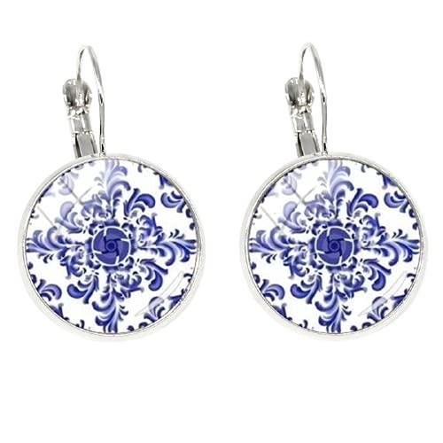 Pendientes de clip de henna india con diseño de mandala de moda y única imagen de arte de cristal, pendientes de cabujón para hombres y mujeres
