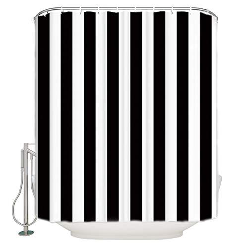 ALAGO Duschvorhang mit nautischem Streifen-Design, schimmelresistent, antibakteriell, Marineblau/Weiß 72
