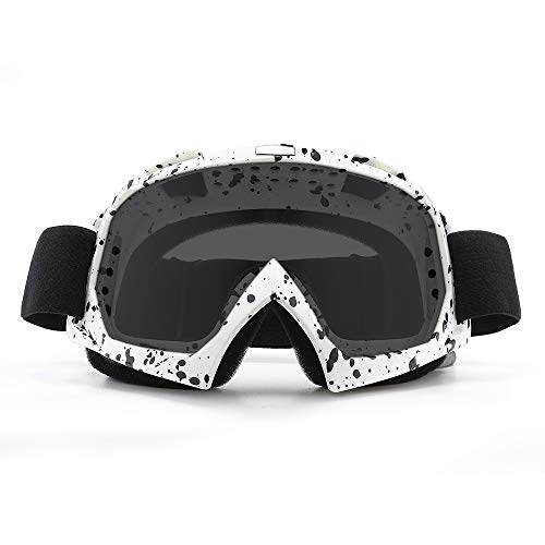 SPOSUNE Motorradbrille, ATV Dirt Bike Off Road Racing MX-Fahrbrille Anti-Scratch Staubdicht Biegbar UV400 Brille Gepolstert Weicher Dicker Schaumstoff, Verstellbarer Riemen Erwachsenen-Motocross