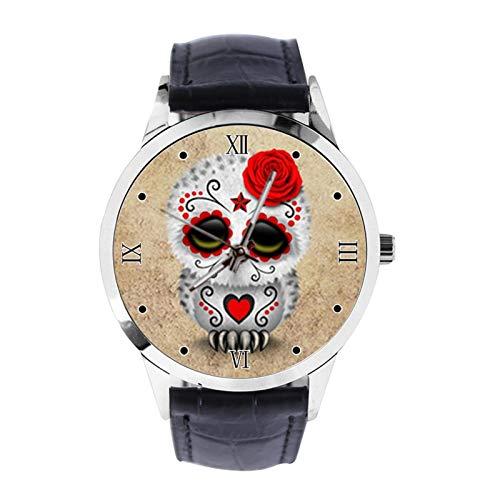 Reloj de pulsera unisex analógico de cuarzo con diseño de calavera de azúcar y búho, con correa de piel, reloj de pulsera para niñas y niños