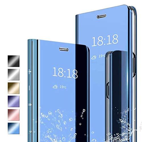ANWEN Hülle für Samsung Galaxy A71 Handyhüllen,Flip Handy Hülle Cover PU+PC Schutzhülle Transluzent View Spiegel Anti-Schock Hülle mit Standfunktion für Samsung Galaxy A71-Blau