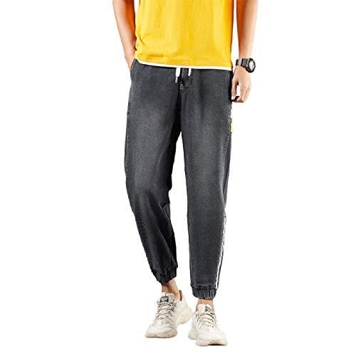 Beastle Pantalones Vaqueros para Hombre Primavera y otoño nuevos Pantalones Vaqueros Holgados de Pierna Recta Harem Pantalones de Mezclilla de Cintura elástica con cordón de Todo fósforo a la Moda 36