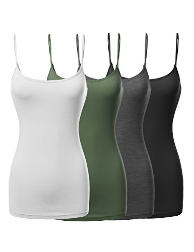 Made by Emma Basic Solid Long Length Adjustable Spaghetti Strap Tank Top Black/White/Charcoal/Olive L