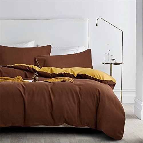 Gnomvaie Ropa de cama de 135 x 200 cm, camello, marrón, beige y dorado, reversible, juego de 2 piezas, microfibra, funda nórdica con cremallera y funda de almohada de 80 x 80 cm