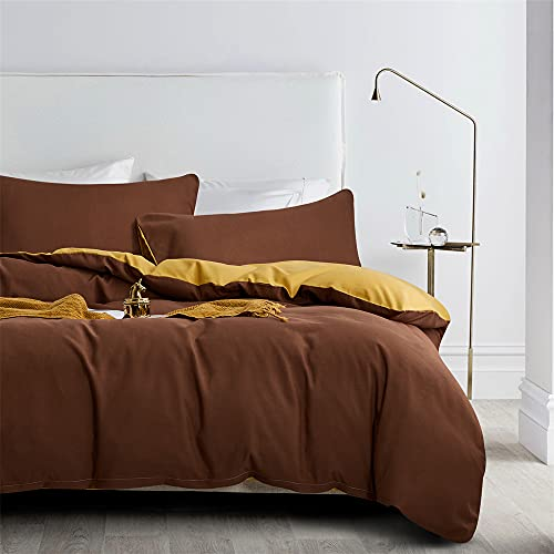 Gnomvaie Ropa de cama de 135 x 200 cm, camello, marrón, beige y dorado, reversible, juego de 2...