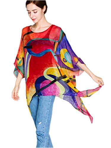 prettystern Poncho Estivo da Donna in Chiffon di Seta Tunica Blusa in Seta Rossa con Stampe d'Arte Kandinsky P21