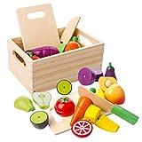 mysunny Hölzernes Küche Kinder Spielzeug, Schneiden Sie Obst und Gemüse Magnetspielzeug, Kochen Lebensmittel Simulation Bildungs und Farbe Wahrnehmung für Vorschulalter Kleinkinder Jungen Mädchen