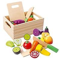 🍑VARIETA 'ALIMENTARE RICCA - Questo set di giocattoli di legno conteneva una colorata selezione di finta frutta e verdura. Include: coltello da pesca, banana, pera, kiwi, carota, cetriolo, melanzana, pomodoro e peeling, coltello da cucina, tagliere, ...