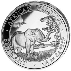 Silbermünze 1/4 Unze Somalia Elefant 2019, 1 Unze, Anlagemünze, Neu, in Münzhüllen
