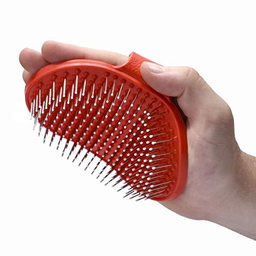 Cepillo de Silicona para Mascotas Perros y Gatos – Seguro y cómodo para desenredar Pelo de Mascotas (Rojo)