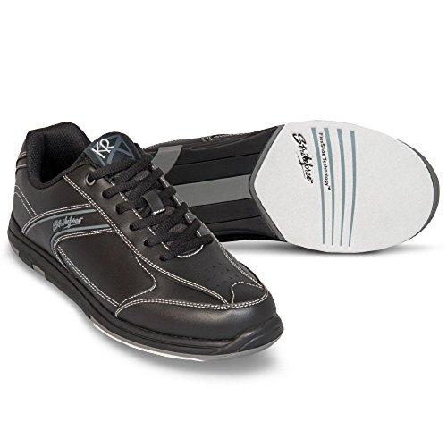 EMAX KR Strikeforce Flyer Bowling-Schuhe Damen und Herren, für Rechts- und Linkshänder in 4 Farben Schuhgröße 38,5-48 mit gratis Schuh-Deo Titania Foot Care (Schwarz, US 7,5 (40))