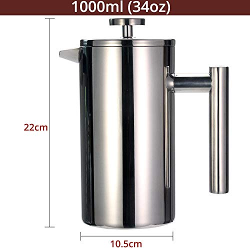 JJFU Koffie Grinders Molen Grinders Druk Koffie Thee Maker RVS Koffiepot Dubbele Muur Vacuüm Geïsoleerde Draagbare Glas Thee Brouwer Met Filter@1000Ml