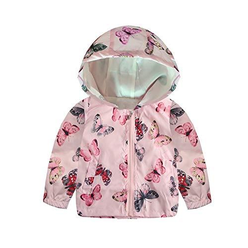 Hattfart Baby Boys Girls Toddler Cartoon Assault Hooded Jacket Zip Print Long Sleeve Windbreaker Coat (Pink, 90)