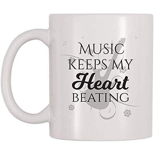 La música mantiene mi corazón latiendo Taza Regalo de la taza de música para rockeros Músicos Amantes de la música Entusiasmo Taza de café Regalo de la taza