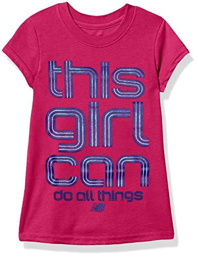 New Balance Kids Girls' Little Short Sleeve Graphic Tee, Carnival Pink, 7/8