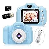 Cámara para Niños, Camara Fotos Infantil, Cámara Digital para Niños con Tarjeta TF 32 GB, Lector de Tarjetas, Niños y Niñas Regalo (Azul)
