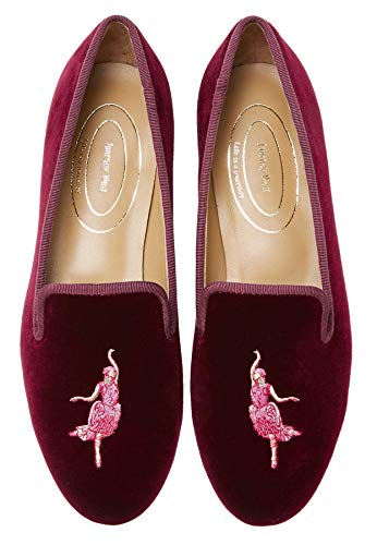 Journey West Damen Loafer Flache Samt Stickerei Smoking Hausschuhe Slip on Schuhe für Frauen Crested Ibis, Rot (Crested Ibis Burgunderrot), 35.5 EU