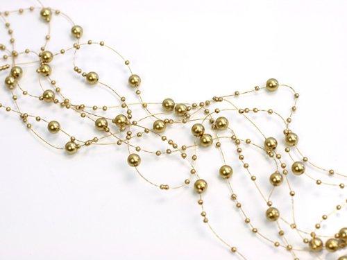 SiDeSo® Perlengirlande 5 Stück á 1,3m Tischdeko Hochzeit (gold)