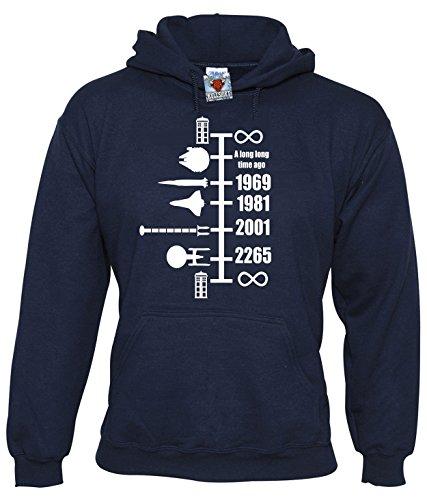Reality Glitch Herren Spaceship Timeline Kapuzenpullover (Navy Blau, Mittel)