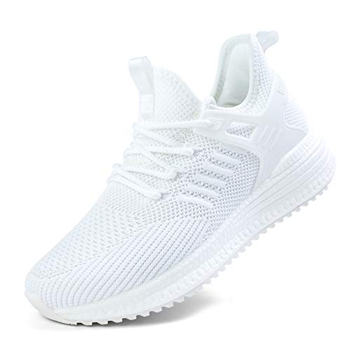 SDolphin Running Shoes for Women Sneakers - White Tennis Walking Breathable Mesh Memory Foam Lightweight Nursing Work Fashion Slip on Jogging Training Athletic Gym Workout Walk Shoes White Size 9