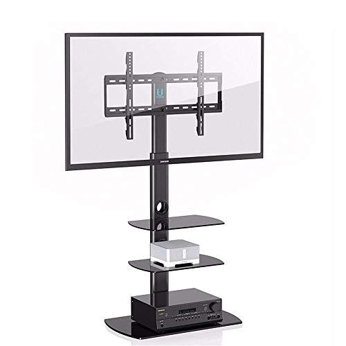 HXCD Soporte para TV - para televisores de Plasma 3D LCD LED de 37-65 Pulgadas, Soporte Ajustable en Altura de Nivel Giratorio de 70 Grados, con 3 estantes, Negro