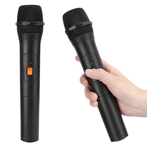 Microphone sans fil, 2 en 1 VHF double système de micro à main sans fil avec récepteur USB, microphone professionnel universel sans fil à main pour chanter l église de karaoké(Noir)