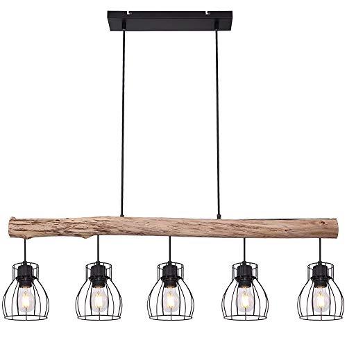 LED Retro Decken Hänge Lampe Holz Balken Wohn Zimmer Beleuchtung Gitter Pendel Leuchte