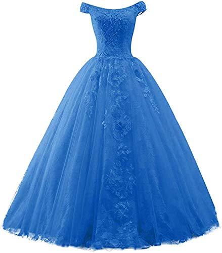 Ballkleider Lang Vintage Brautkleid Hochzeit Damen Prinzessin A-Linie Abendkleid Quinceanera Kleider Meerblau EUR38