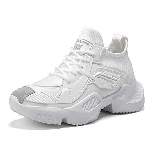 GSLMOLN Zapatillas de Deporte Hombres Running Zapatos para Correr Trail Gimnasio Ligero Transpirables Sneakers White 41