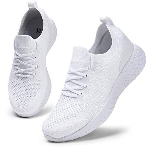 HKR Damen Sportschuhe Atmungsaktiv Gym Turnschuhe Leichtgewicht Laufschuhe Lace Up Freizeitschuhe Trainer Outdoor Sneaker für Damen Weiß 38 EU