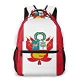 LNLN Mochila Casual para niñas Peru Large Flag Laptop Backpack School Backpack for Men Women Lightweight Travel Casual Durable Daily Daypack College Student Rucksack 11 5in X 8in X 16in