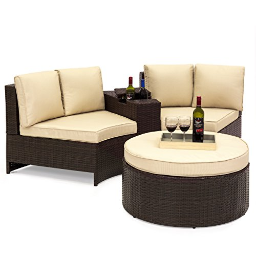Best Choice Products 4-Piece Backyard Wicker Patio Sofa Sectional Set w/Umbrella Holder and Storage, Brown