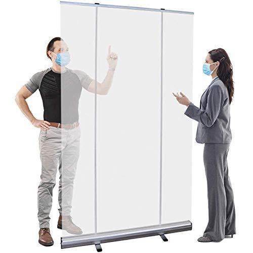 YUMUO Protector de estornudos ajustable con soporte enrollable portátil enrollable transparente /39 x 79 pulgadas para contador con bolsa de almacenamiento