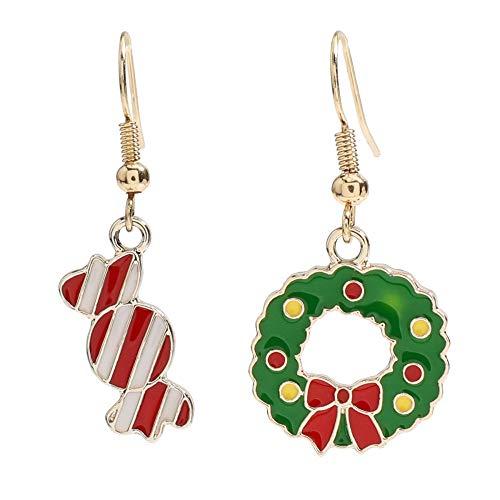 GLGSHOULIAN Orecchini Natale,Orecchini di Canna Campane Albero di Natale Accessori per Gioielli per Feste di Natale Semplici da Donna, Caramelle Natalizie E Ghirlade