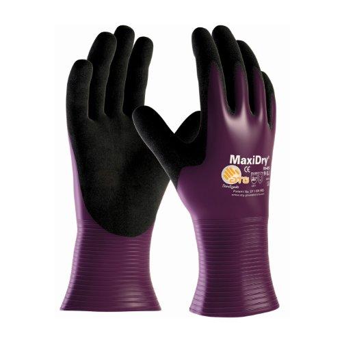 ATG 56426-09B - Guantes impermeables (talla grande), Violeta/Negro, Talla 9