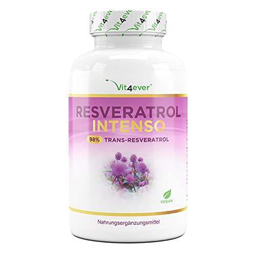 Resveratrol con 500 mg por cápsula - Premium: 98% Trans-Resveratrol de extracto de raíz de nudosa japonesa - 60 cápsulas - Altamente dosificado - Vegano