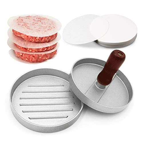 Unicook Burger Press, Non-Stick Hamburger Maker with 100 Patty Papers, Making Stuffed Pocket Burgers, Perfect for Kitchen, BBQ and Grilling