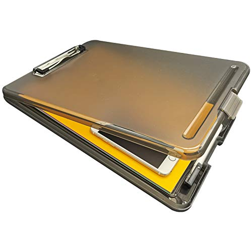 """Plastic Storage Clipboard,Nursing Clipboard with Snap Closure, Storage Compartment Holds 150 Letter Sized Paper,Professional Size(9.5""""x13.5""""x 0.8"""") (Coffee)"""