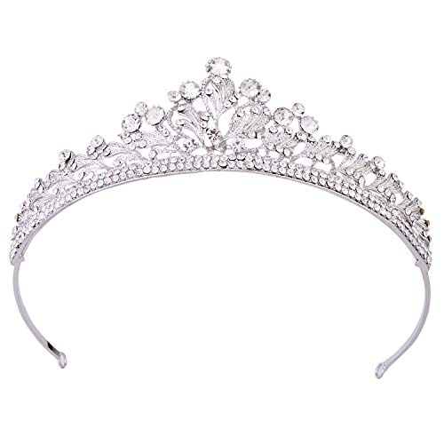 Vofler Crystal Tiara Silver Crown Headband Headpiece Rhinestone Leaf Hair Jewelry Decor for Women Ladies Little Girls Bridal Bride Princess Birthday Wedding Pageant Prom Halloween Costume Party