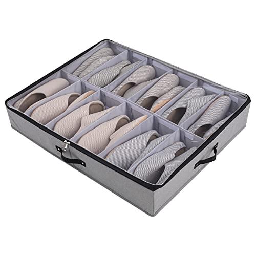 Scatola portaoggetti pieghevole sotto il letto con divisori regolabili e coperchio trasparente e cerniera e maniglia, per scarpe, coperte, vestiti, piumini, portaoggetti, 77 x 63 x 14 cm, grigio scuro