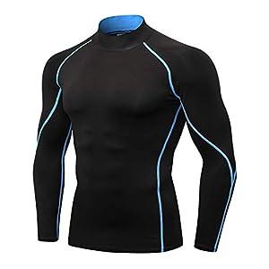 Topyo メンズ長袖ハイネックスポーツシャツパワーストレッチコンプレッションウェア[紫外線吸収カット・吸汗速乾・防寒・保温]